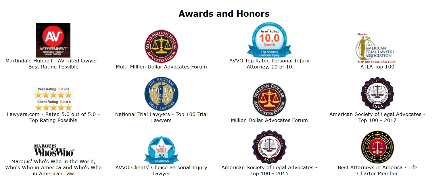 Awards and Honors - Personal Injury Attorneys